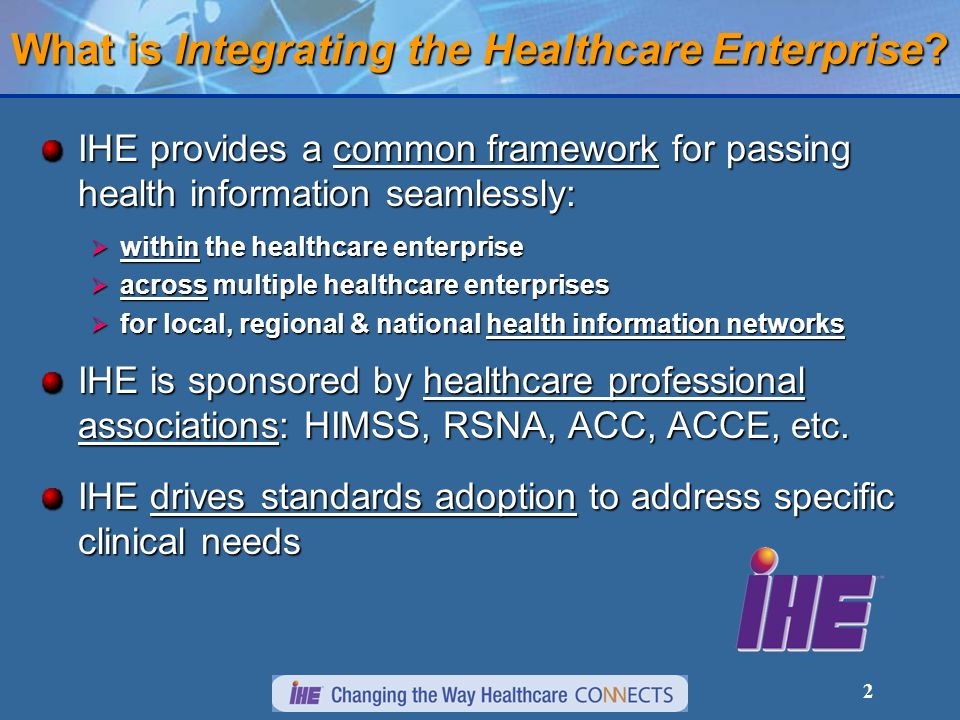 2 What is Integrating the Healthcare Enterprise.