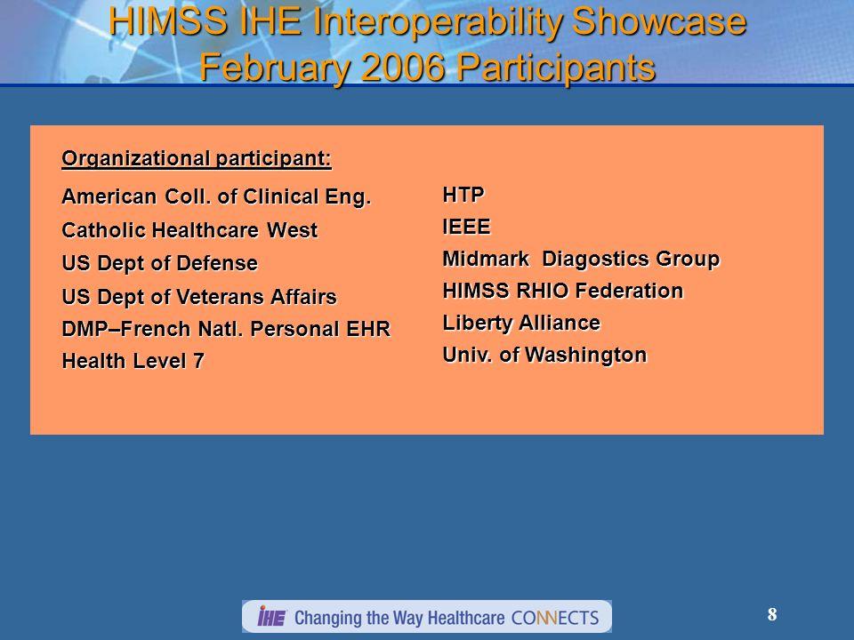 8 HIMSS IHE Interoperability Showcase February 2006 Participants Organizational participant: American Coll.