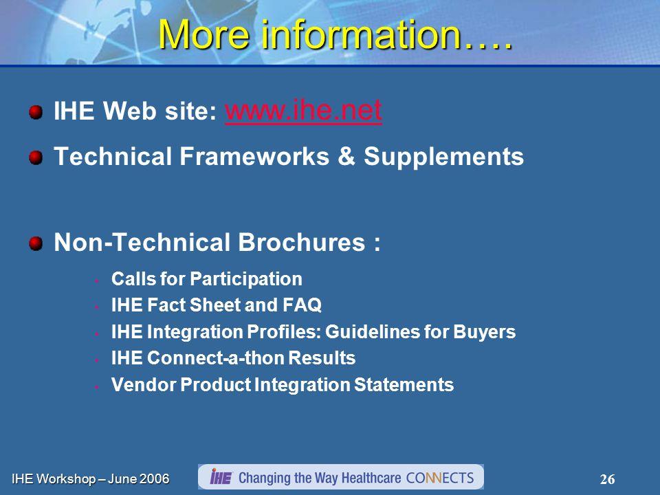 IHE Workshop – June 2006 26 More information….