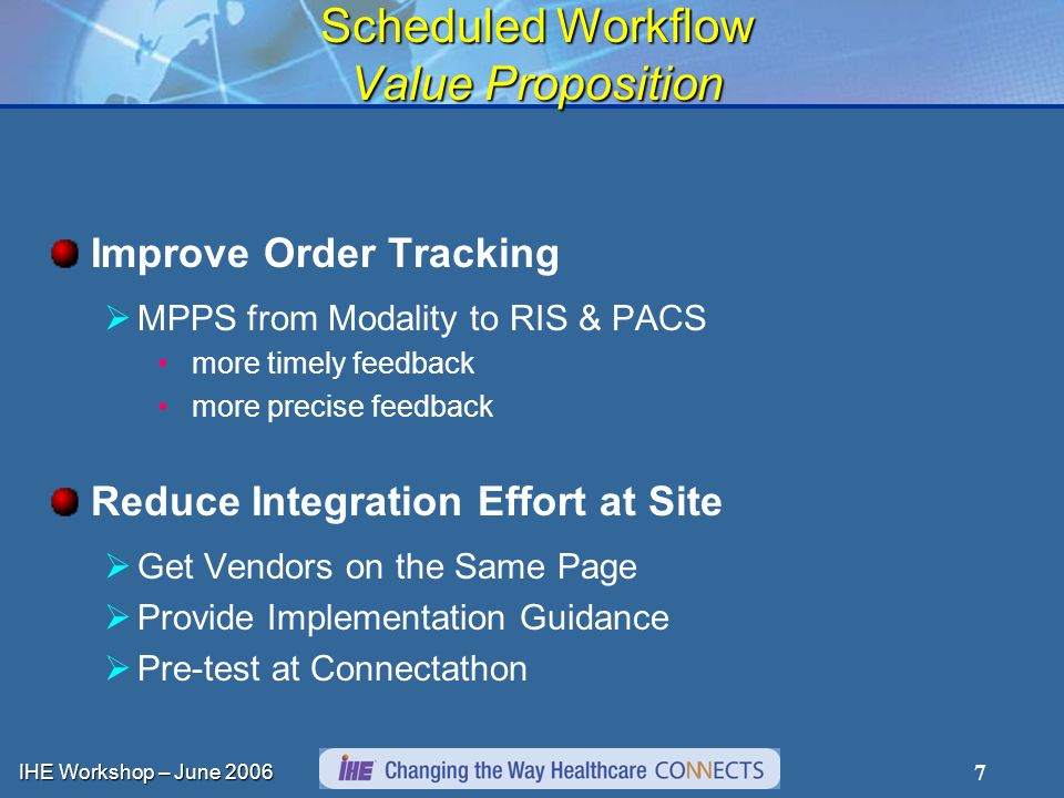 IHE Workshop – June 2006 7 Scheduled Workflow Value Proposition Improve Order Tracking MPPS from Modality to RIS & PACS more timely feedback more prec
