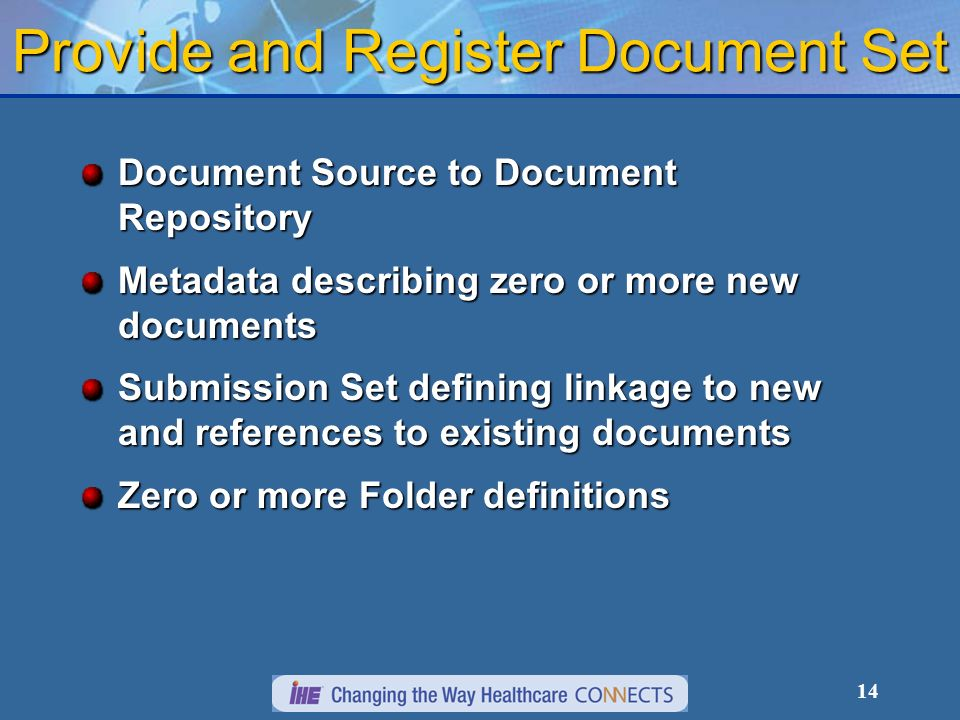 14 Provide and Register Document Set Document Source to Document Repository Metadata describing zero or more new documents Submission Set defining linkage to new and references to existing documents Zero or more Folder definitions