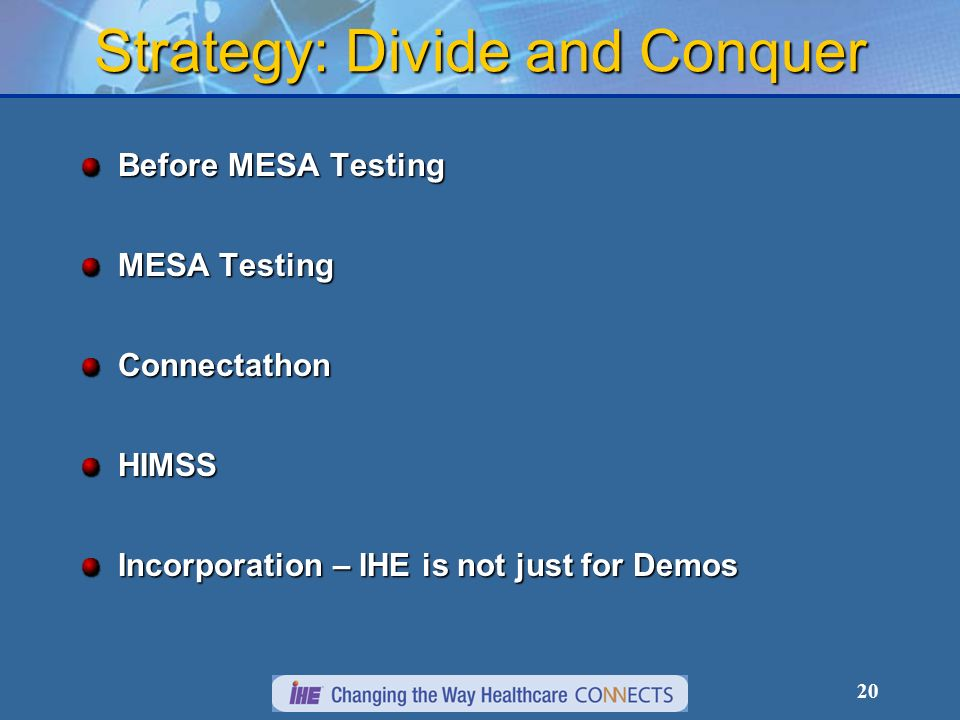 20 Strategy: Divide and Conquer Before MESA Testing MESA Testing ConnectathonHIMSS Incorporation – IHE is not just for Demos