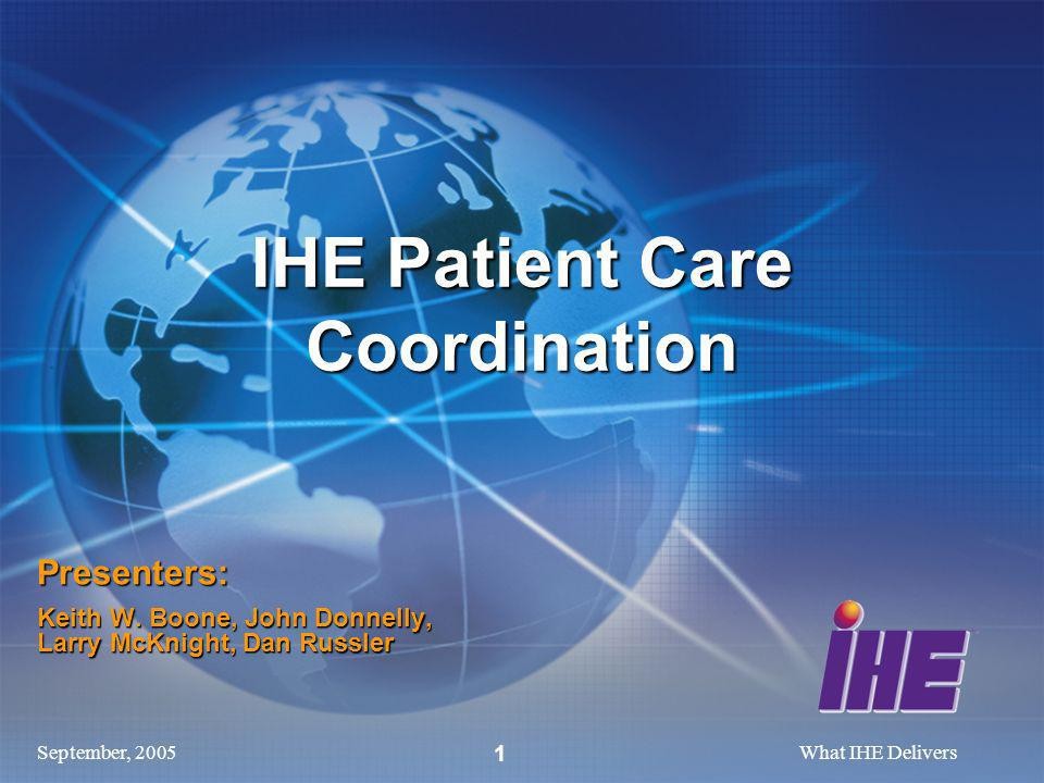 September, 2005What IHE Delivers 1 Presenters: Keith W.