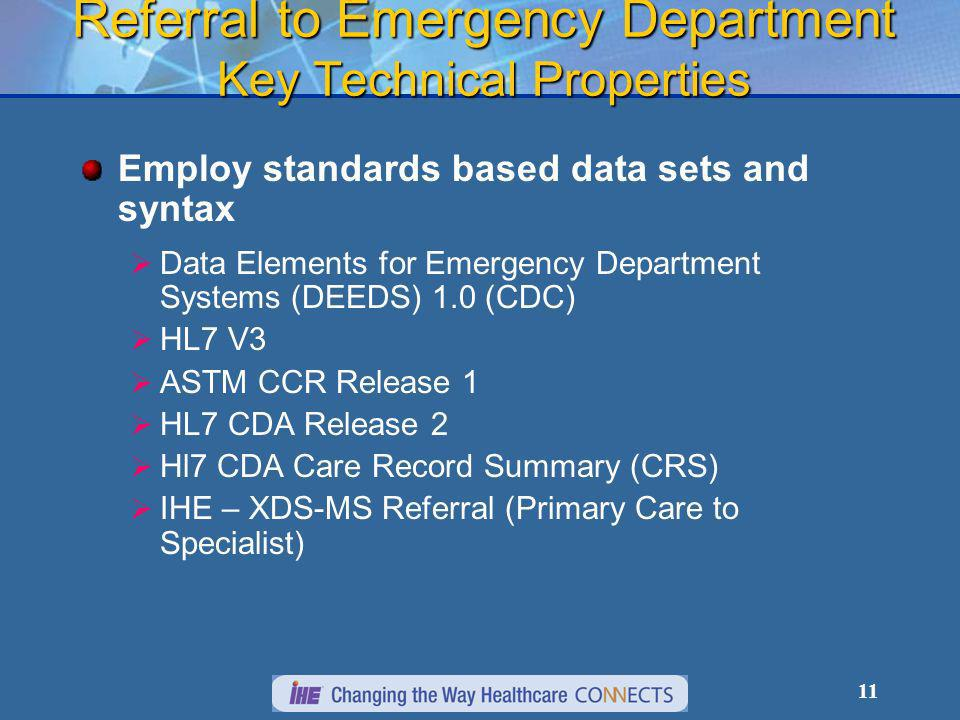 11 Referral to Emergency Department Key Technical Properties Employ standards based data sets and syntax Data Elements for Emergency Department Systems (DEEDS) 1.0 (CDC) HL7 V3 ASTM CCR Release 1 HL7 CDA Release 2 Hl7 CDA Care Record Summary (CRS) IHE – XDS-MS Referral (Primary Care to Specialist)
