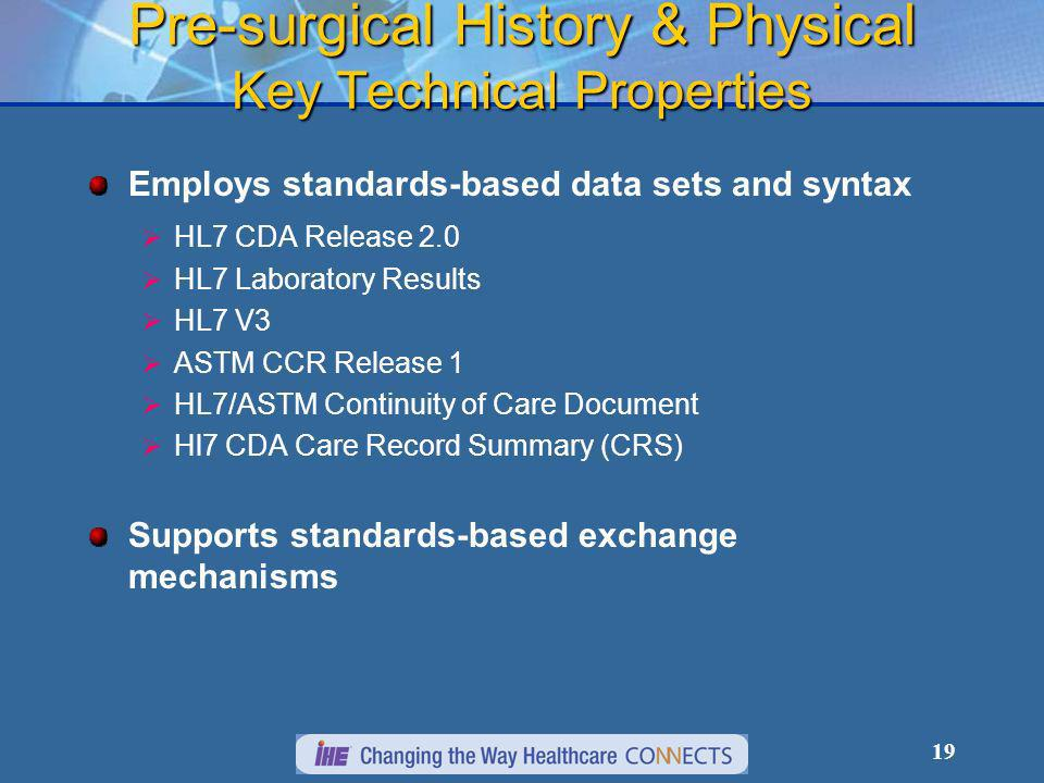 19 Pre-surgical History & Physical Key Technical Properties Employs standards-based data sets and syntax HL7 CDA Release 2.0 HL7 Laboratory Results HL7 V3 ASTM CCR Release 1 HL7/ASTM Continuity of Care Document Hl7 CDA Care Record Summary (CRS) Supports standards-based exchange mechanisms