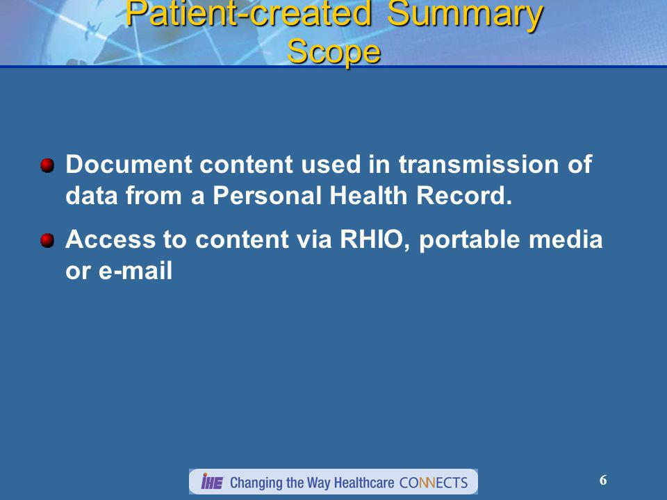 6 Patient-created Summary Scope Document content used in transmission of data from a Personal Health Record.