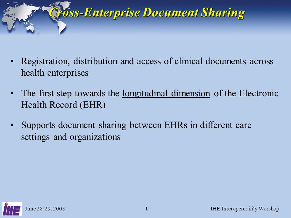 June 28-29, 2005IHE Interoperability Worshop31 Local Cross Referencing XDS Document Registry XDS Document Repository Patient Identity Source Patient Identification Domain C Patient Identification Domain XAD Patient Identity Feed Dm=XAD, Pid=Px Dm=C Pid=Pc Patient Identification Domain D2 XDS Document Source XDS Doc Dm=D2 Pid=Pd XDS Document Consumer Document Entry Dm=XAD Pid=Px XDS Doc Provide&Register Doc Set Query Docs Dm=XAD Pid=Px Dm=XAD Pid=Px