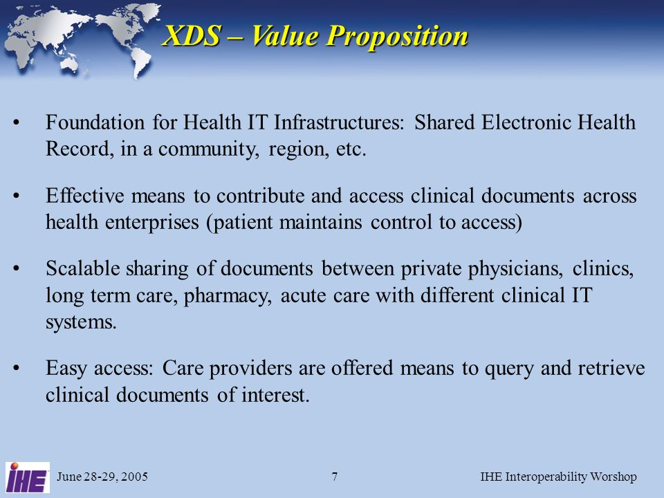 June 28-29, 2005IHE Interoperability Worshop7 XDS – Value Proposition Foundation for Health IT Infrastructures: Shared Electronic Health Record, in a community, region, etc.