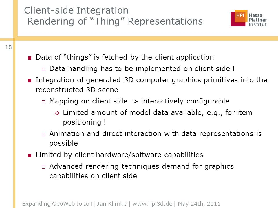 Client-side Integration Rendering of Thing Representations Data of things is fetched by the client application Data handling has to be implemented on client side .