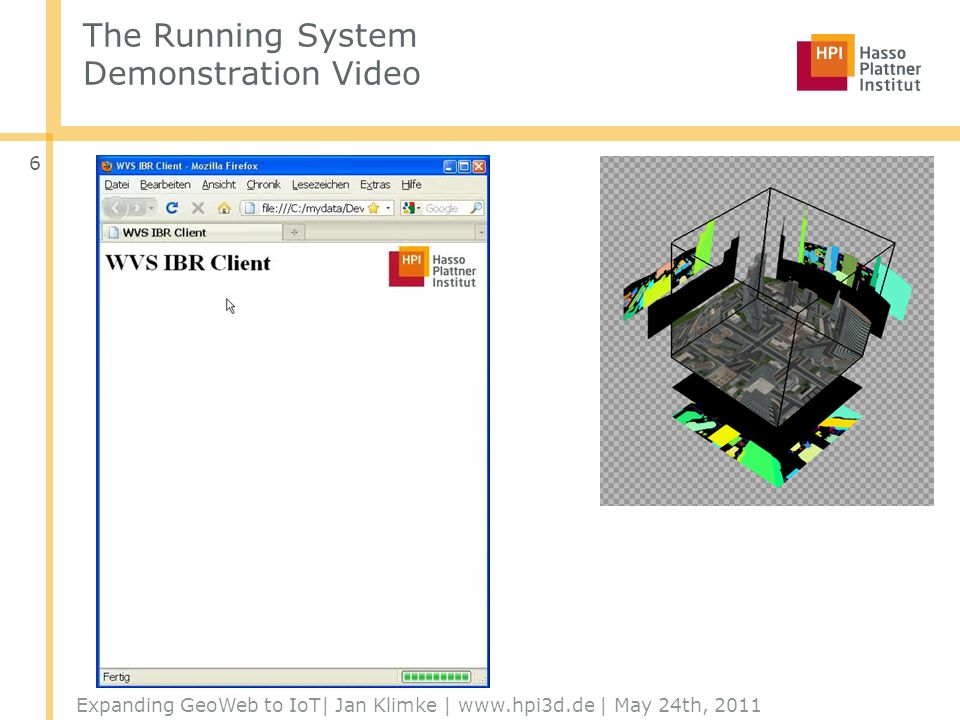 The Running System Demonstration Video Expanding GeoWeb to IoT| Jan Klimke | www.hpi3d.de | May 24th, 2011 6