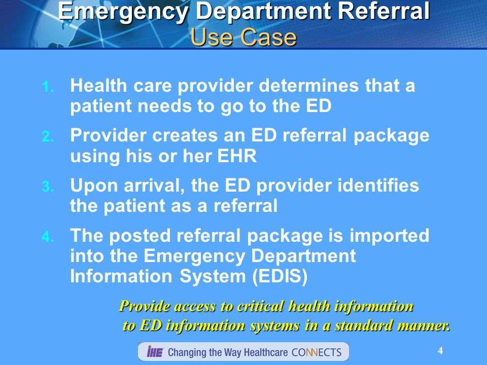 4 Emergency Department Referral Use Case 1.