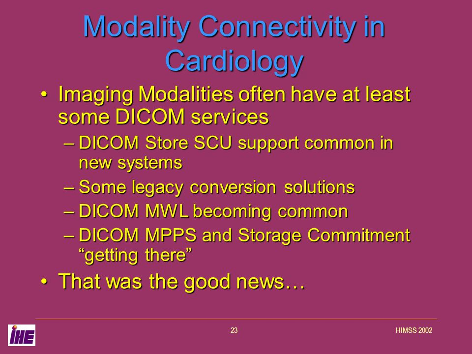 HIMSS 200223 Modality Connectivity in Cardiology Imaging Modalities often have at least some DICOM servicesImaging Modalities often have at least some