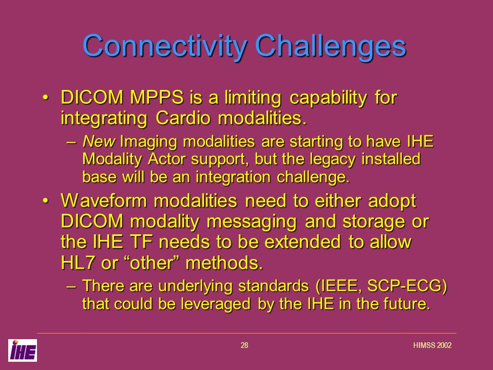 HIMSS 200228 Connectivity Challenges DICOM MPPS is a limiting capability for integrating Cardio modalities.DICOM MPPS is a limiting capability for int