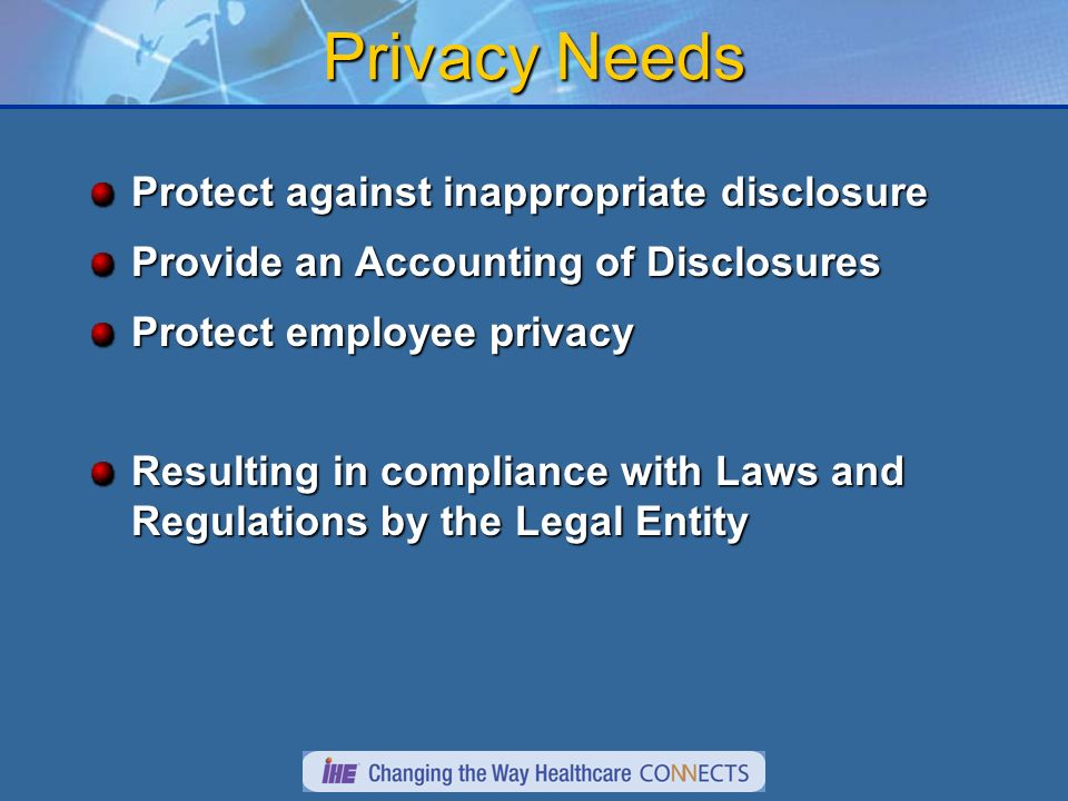 Privacy Needs Protect against inappropriate disclosure Provide an Accounting of Disclosures Protect employee privacy Resulting in compliance with Laws and Regulations by the Legal Entity