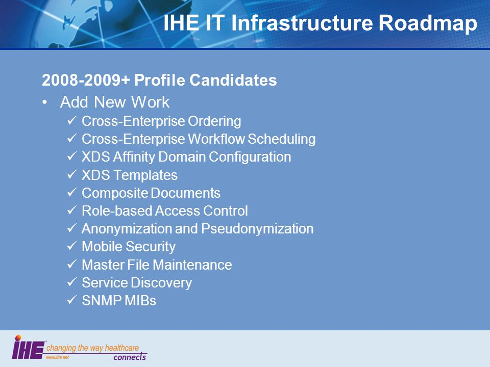 IHE IT Infrastructure Roadmap 2008-2009+ Profile Candidates Add New Work Cross-Enterprise Ordering Cross-Enterprise Workflow Scheduling XDS Affinity D