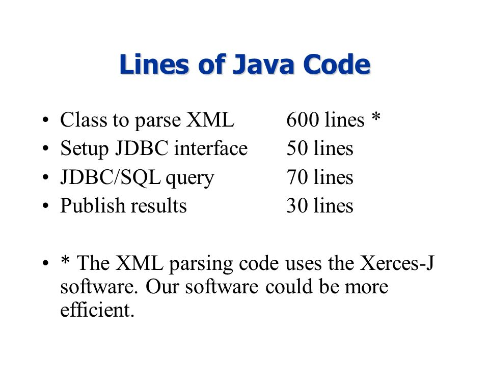 Lines of Java Code Class to parse XML600 lines * Setup JDBC interface50 lines JDBC/SQL query70 lines Publish results30 lines * The XML parsing code uses the Xerces-J software.