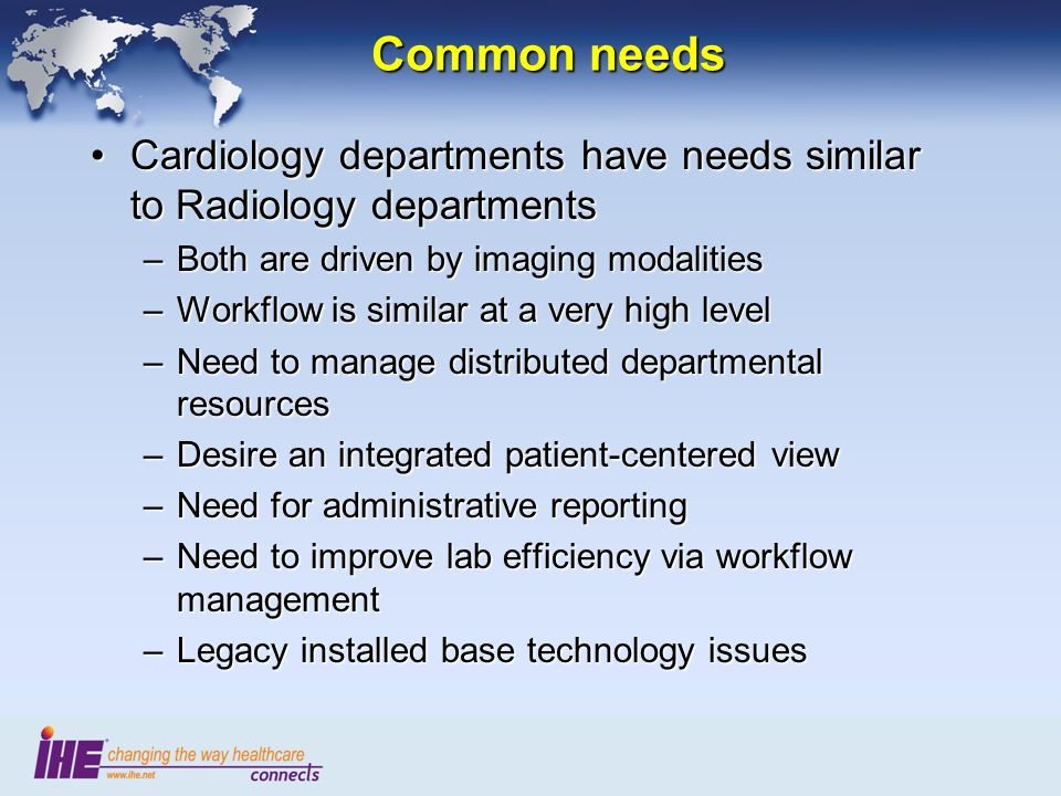 Complexity of Core Data RadiologyRadiology –Diagnostic Imaging CT,MR,US,NM…CT,MR,US,NM… Scanned FilmScanned Film –Text Reports –Measurements CardiologyCardiology –Diagnostic Imaging XA, US, NM, CT, MRXA, US, NM, CT, MR –Waveforms ECG, Hemo, EP, StressECG, Hemo, EP, Stress –Extensive numeric measurements –Lab data –Complex Reports Stress,Holter, CathStress,Holter, Cath