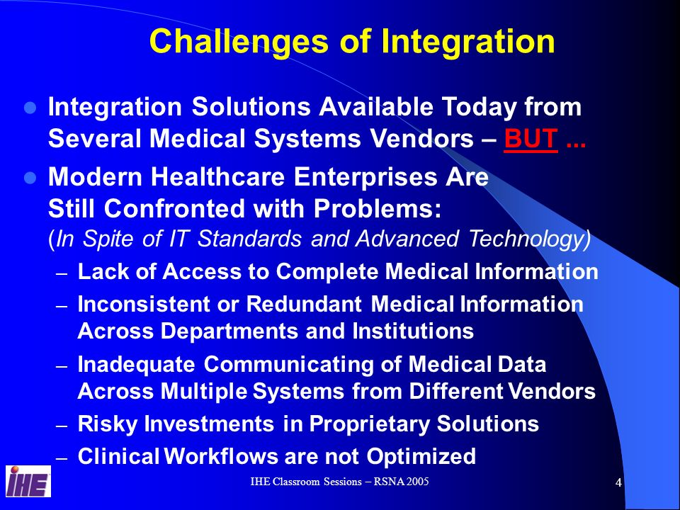 IHE Classroom Sessions – RSNA 2005 3 Discussion Areas The IHE Deployment Process IHE Integration Profiles The Value Proposition from Planning Products and Integrated Solutions using IHE