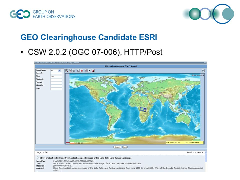 GEO Clearinghouse Candidate ESRI CSW 2.0.2 (OGC 07-006), HTTP/Post