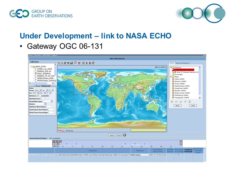 Under Development – link to NASA ECHO Gateway OGC 06-131