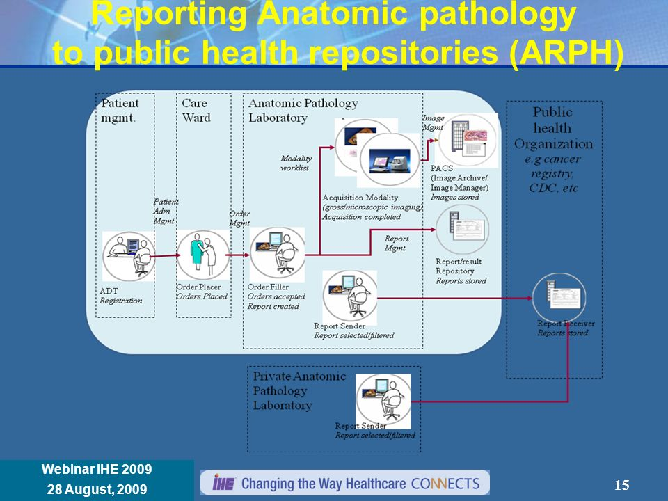 Réunion Annuelle IHE France 8 janvier 2008 Webinar IHE 2009 28 August, 2009 Reporting Anatomic pathology to public health repositories (ARPH) 15