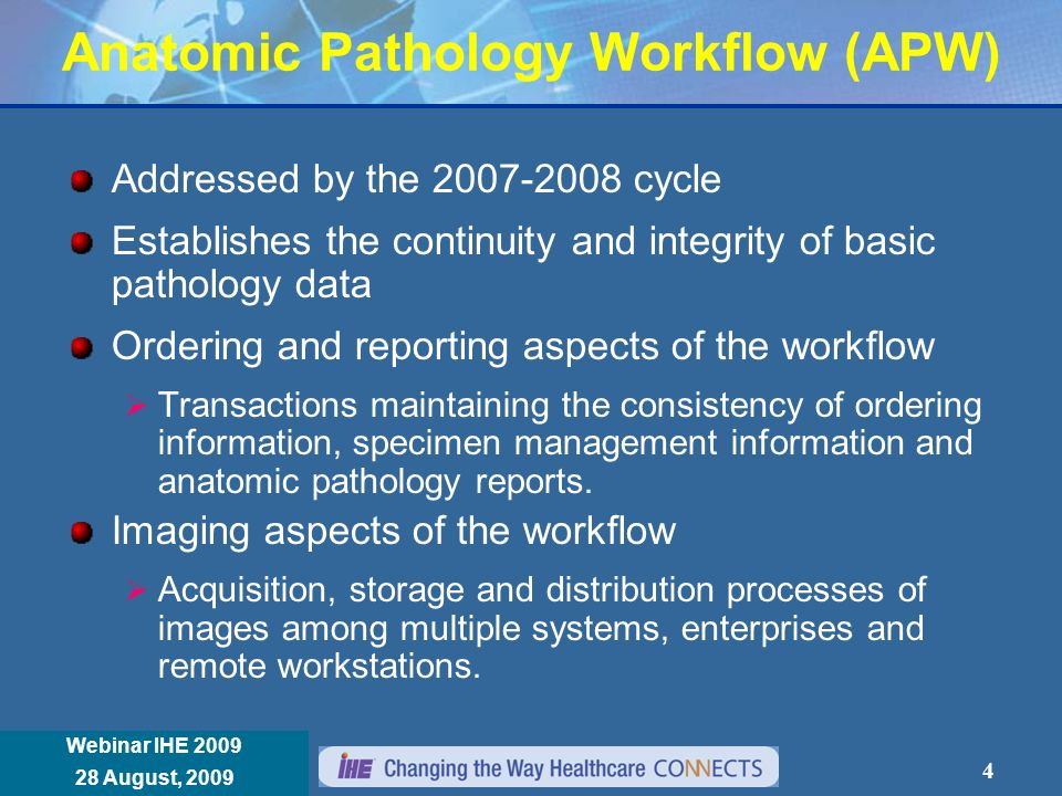 Réunion Annuelle IHE France 8 janvier 2008 Webinar IHE 2009 28 August, 2009 Anatomic Pathology Workflow (APW) ADT Registration Order Placer Orders Placed Modality worklist Acquisition Modality (gross imaging/microscopic imaging) Acquisition completed Order Mgmt Patient Adm Mgmt PACS (Image Archive/ Image Manager) Images stored Order Filler Orders accepted Report created Report Mgmt Care Ward Patient mgmt.