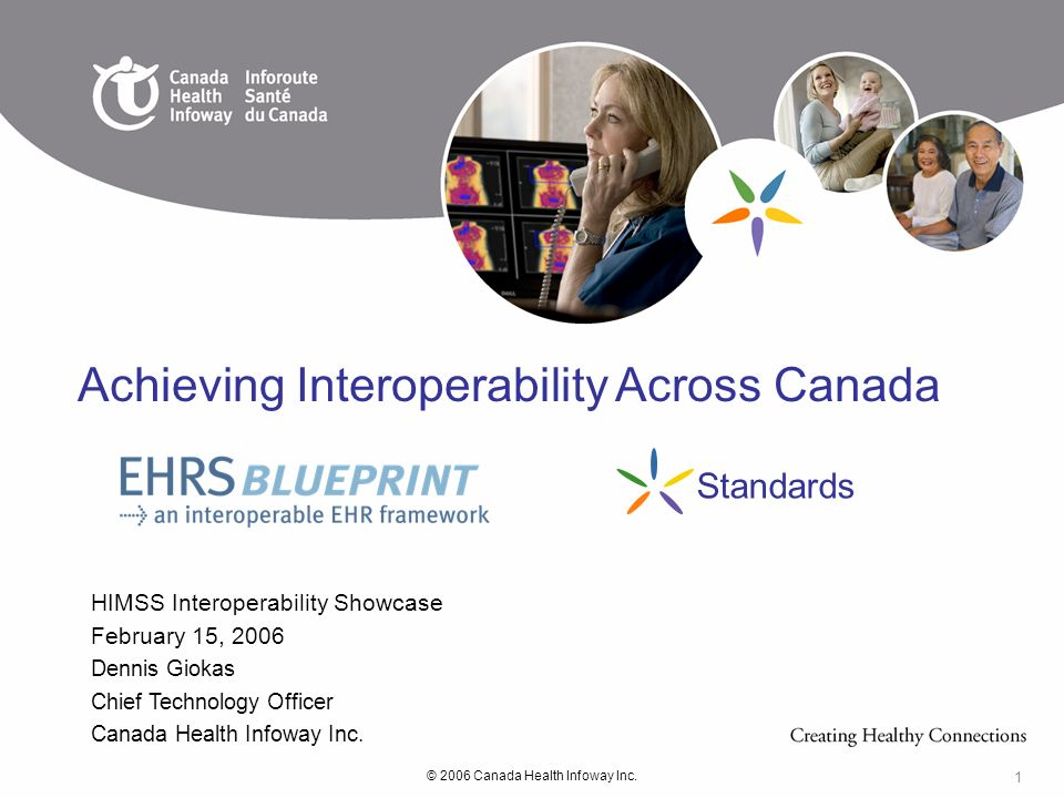 © 2006 Canada Health Infoway Inc. 1 HIMSS Interoperability Showcase February 15, 2006 Dennis Giokas Chief Technology Officer Canada Health Infoway Inc