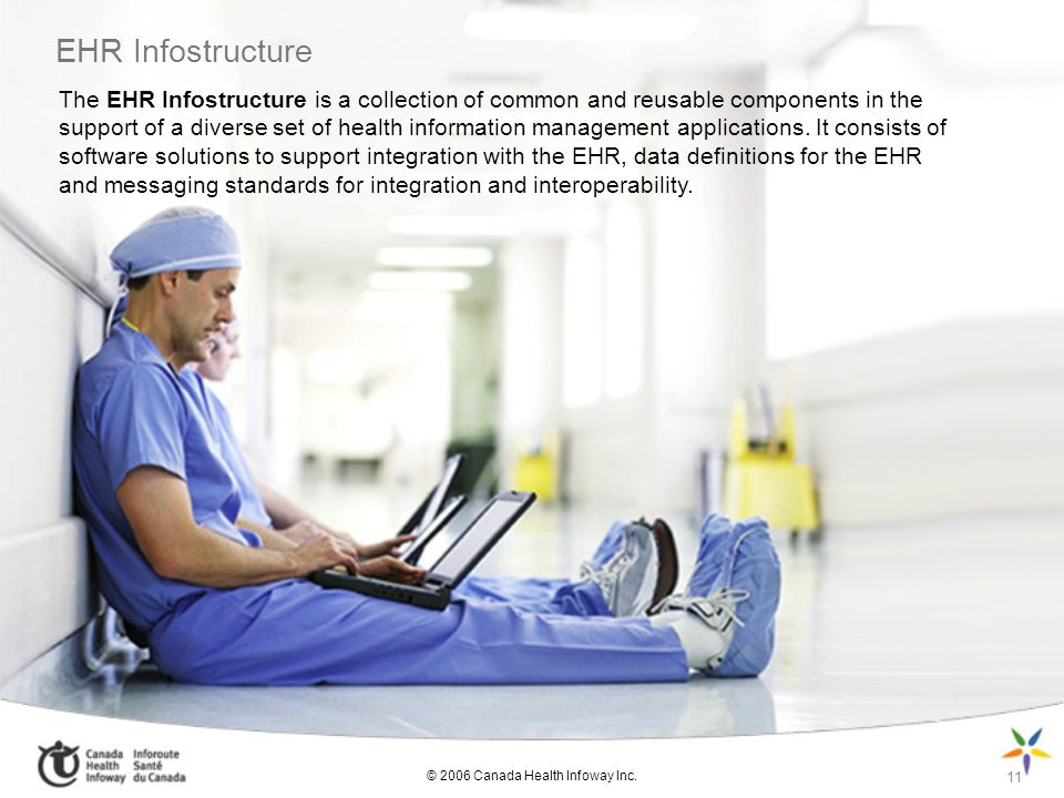 EHR Infostructure 11 The EHR Infostructure is a collection of common and reusable components in the support of a diverse set of health information management applications.