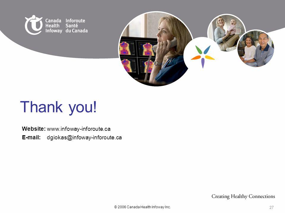 © 2006 Canada Health Infoway Inc. 27 Website:www.infoway-inforoute.ca E-mail:dgiokas@infoway-inforoute.ca Thank you!