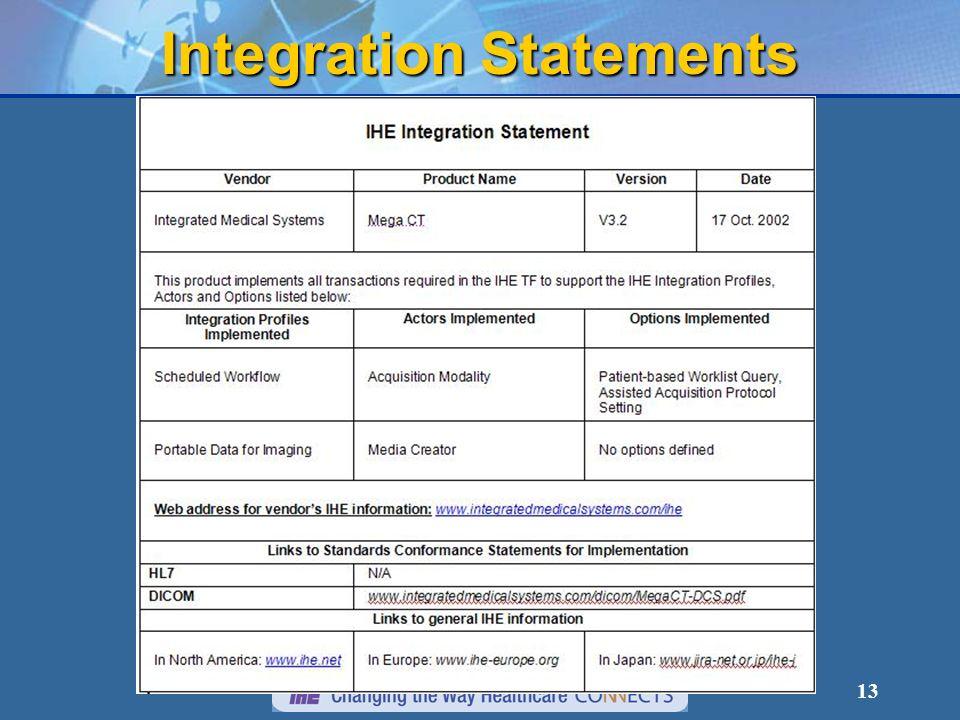 13 Integration Statements