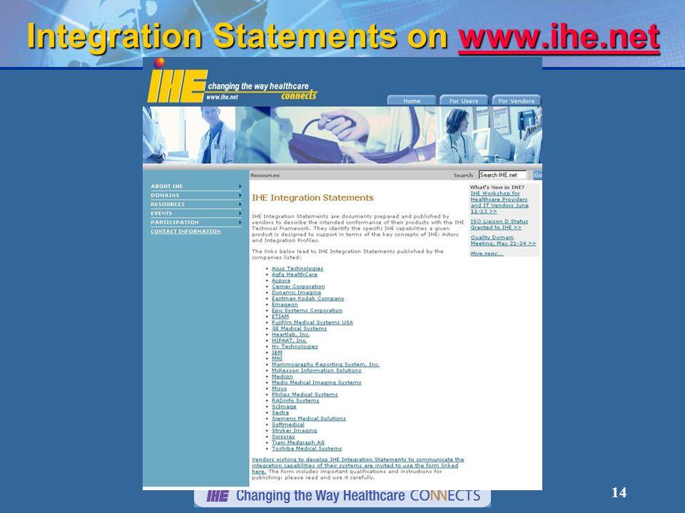 14 Integration Statements on www.ihe.net www.ihe.net