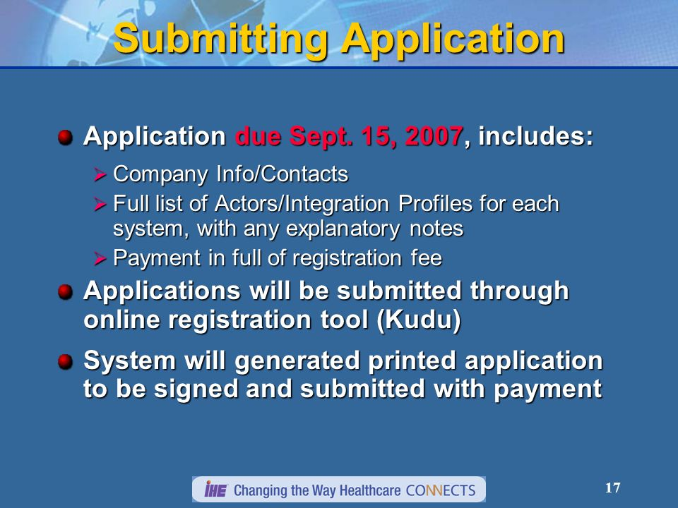 17 Submitting Application Application due Sept.