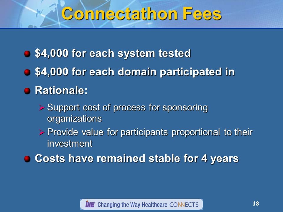 18 Connectathon Fees $4,000 for each system tested $4,000 for each domain participated in Rationale: Support cost of process for sponsoring organizati