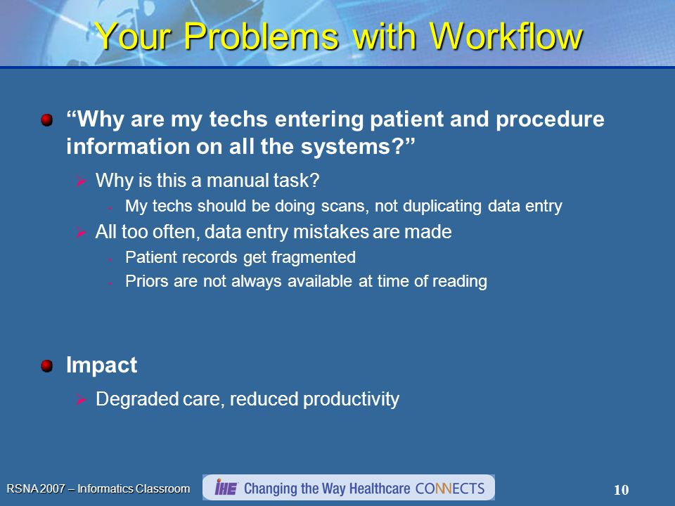 RSNA 2007 – Informatics Classroom 10 Your Problems with Workflow Why are my techs entering patient and procedure information on all the systems? Why i