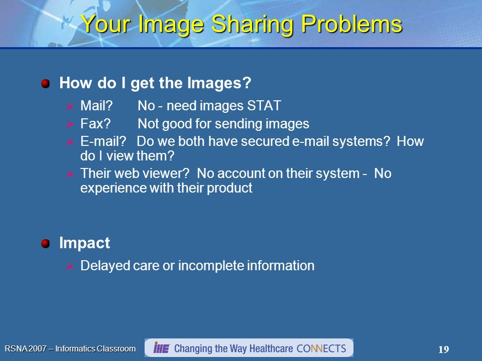 RSNA 2007 – Informatics Classroom 19 Your Image Sharing Problems How do I get the Images? Mail? No - need images STAT Fax? Not good for sending images
