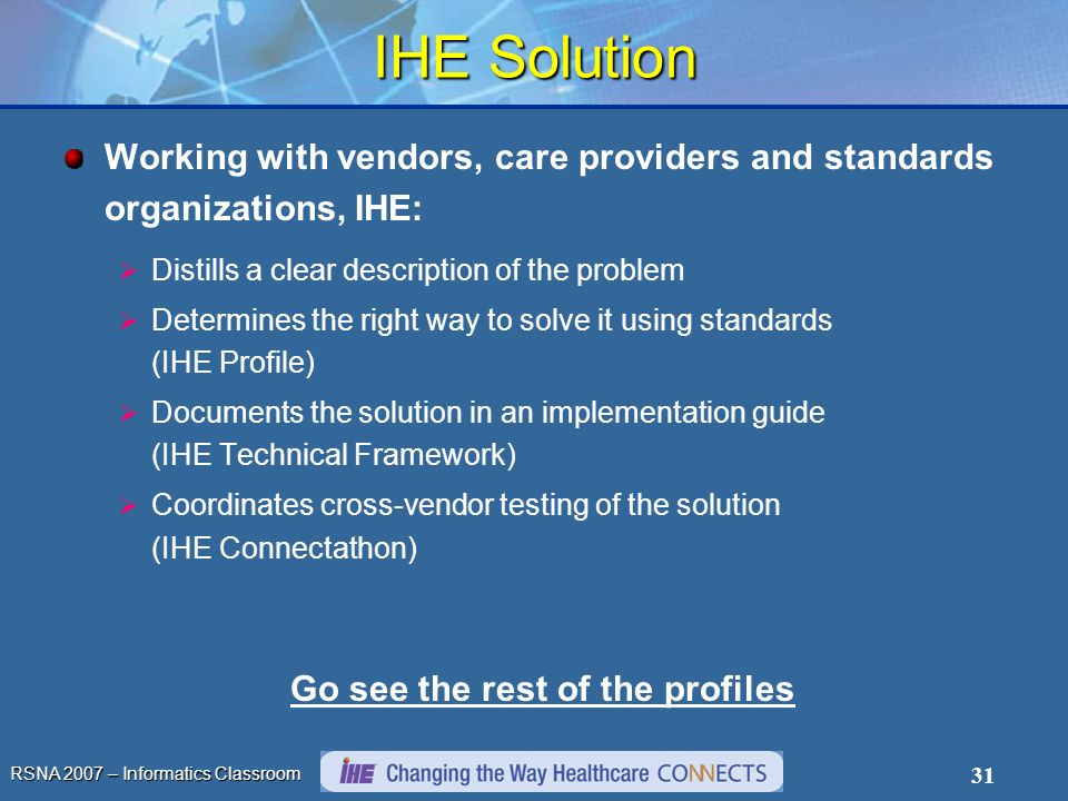RSNA 2007 – Informatics Classroom 31 IHE Solution Working with vendors, care providers and standards organizations, IHE: Distills a clear description