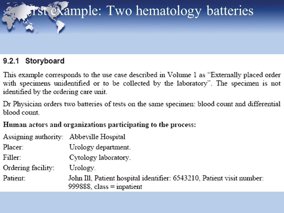 1st example: Two hematology batteries