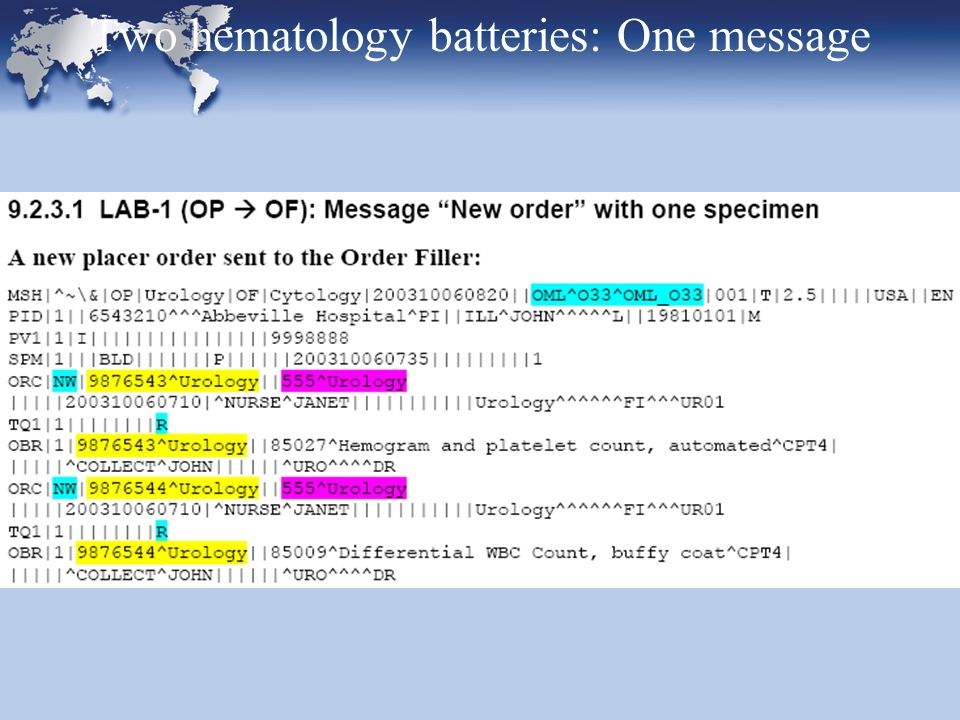 Two hematology batteries: One message