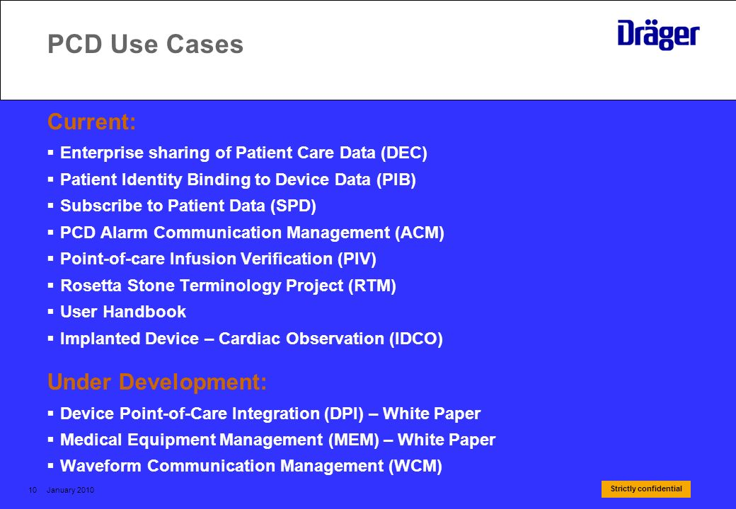 Strictly confidential January 201010 PCD Use Cases Current: Enterprise sharing of Patient Care Data (DEC) Patient Identity Binding to Device Data (PIB