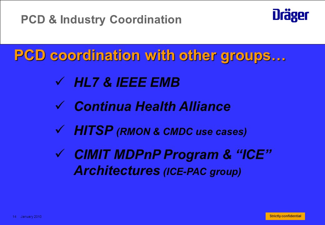 Strictly confidential January 201014 PCD & Industry Coordination PCD coordination with other groups… HL7 & IEEE EMB Continua Health Alliance HITSP (RM