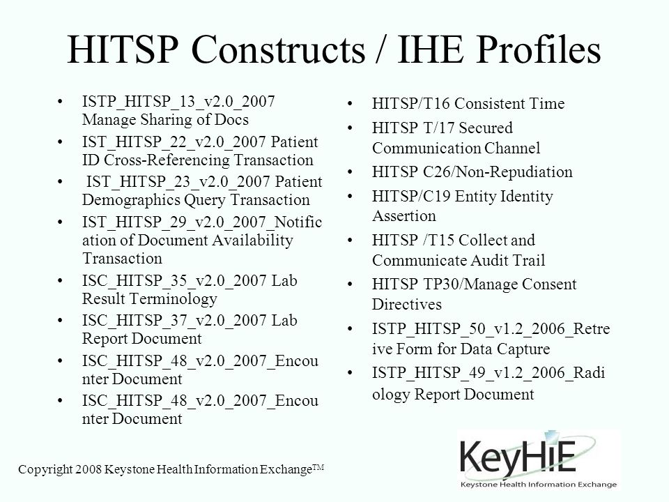 Copyright 2008 Keystone Health Information Exchange TM HITSP Constructs / IHE Profiles ISTP_HITSP_13_v2.0_2007 Manage Sharing of Docs IST_HITSP_22_v2.0_2007 Patient ID Cross-Referencing Transaction IST_HITSP_23_v2.0_2007 Patient Demographics Query Transaction IST_HITSP_29_v2.0_2007_Notific ation of Document Availability Transaction ISC_HITSP_35_v2.0_2007 Lab Result Terminology ISC_HITSP_37_v2.0_2007 Lab Report Document ISC_HITSP_48_v2.0_2007_Encou nter Document HITSP/T16 Consistent Time HITSP T/17 Secured Communication Channel HITSP C26/Non-Repudiation HITSP/C19 Entity Identity Assertion HITSP /T15 Collect and Communicate Audit Trail HITSP TP30/Manage Consent Directives ISTP_HITSP_50_v1.2_2006_Retre ive Form for Data Capture ISTP_HITSP_49_v1.2_2006_Radi ology Report Document