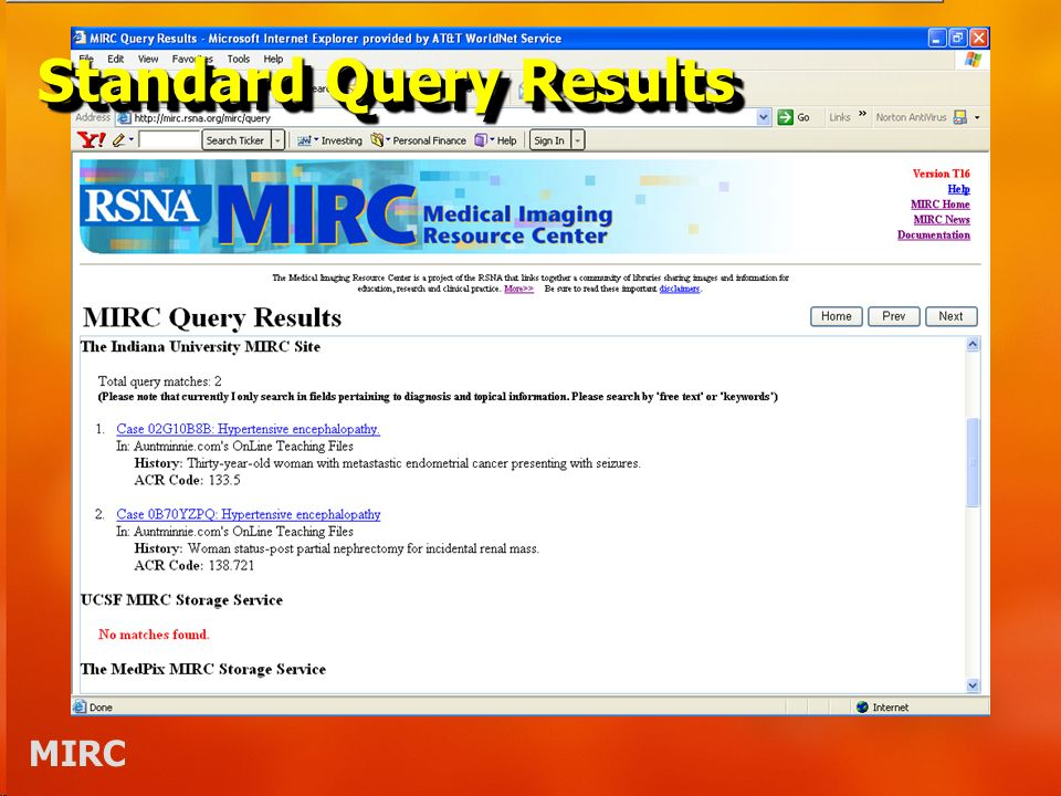 MIRC Standard Query Results