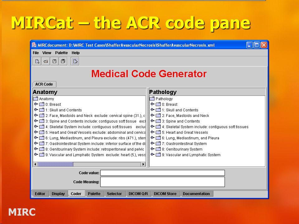 MIRC MIRCat – the ACR code pane