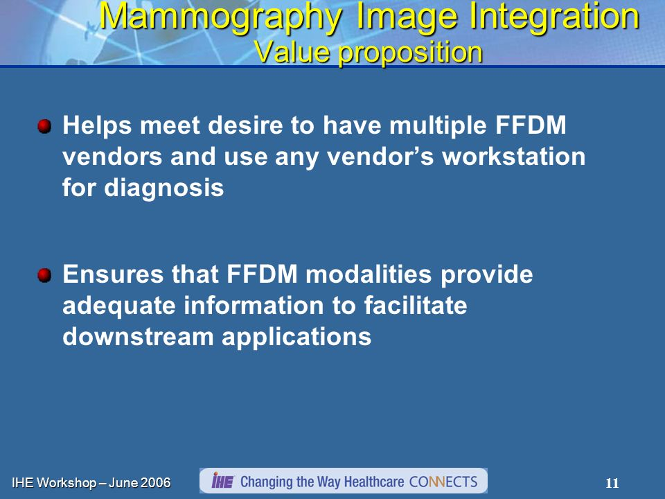 IHE Workshop – June 2006 11 Mammography Image Integration Value proposition Helps meet desire to have multiple FFDM vendors and use any vendors workstation for diagnosis Ensures that FFDM modalities provide adequate information to facilitate downstream applications