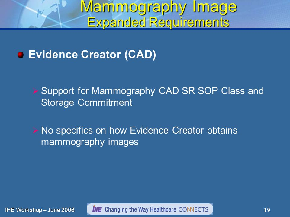 IHE Workshop – June 2006 19 Mammography Image Expanded Requirements Evidence Creator (CAD) Support for Mammography CAD SR SOP Class and Storage Commitment No specifics on how Evidence Creator obtains mammography images
