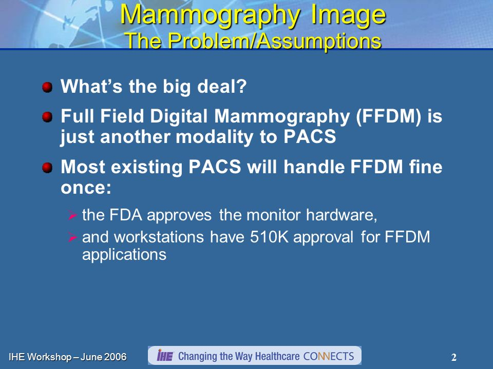 IHE Workshop – June 2006 13 Mammography Image Integration Scope Based upon existing actors and transactions Expanded requirements within each transaction ActorsTransactionsOptionalitySection in Vol.