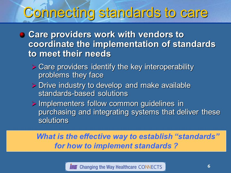 6 Connecting standards to care Care providers work with vendors to coordinate the implementation of standards to meet their needs Care providers identify the key interoperability problems they face Care providers identify the key interoperability problems they face Drive industry to develop and make available standards-based solutions Drive industry to develop and make available standards-based solutions Implementers follow common guidelines in purchasing and integrating systems that deliver these solutions Implementers follow common guidelines in purchasing and integrating systems that deliver these solutions What is the effective way to establish standards for how to implement standards