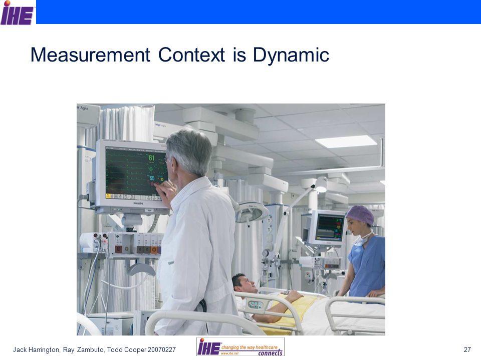 Jack Harrington, Ray Zambuto, Todd Cooper 2007022727 Measurement Context is Dynamic