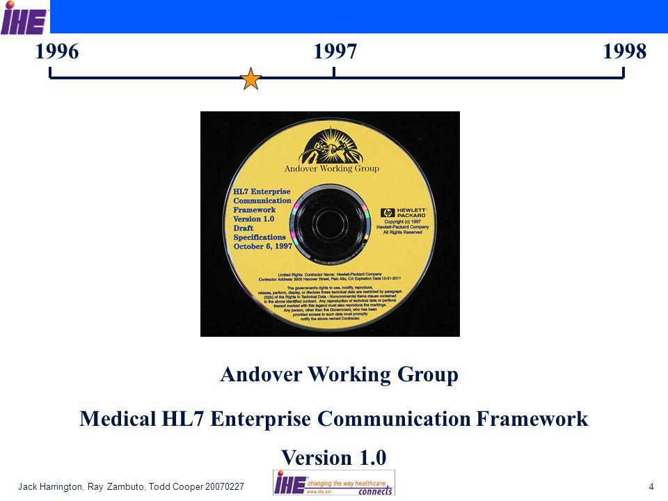 Jack Harrington, Ray Zambuto, Todd Cooper 200702274 199619971998 Andover Working Group Medical HL7 Enterprise Communication Framework Version 1.0