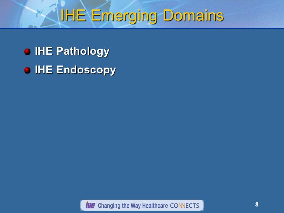 8 IHE Emerging Domains IHE Pathology IHE Endoscopy